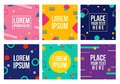 Memphis style cards. Collection of templates in trendy memphis