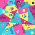 Memphis style cover with geometric shapes. templates in trendy fashion 80-90s