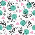 Memphis style, geometric pattern, abstract seamless pattern, retro 80s style.