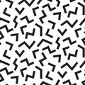 EDGED LINES MEMPHIS STYLE SEAMLESS PATTERN. GEOMETRIC ELEMENTS TEXTURE. 80S-90S DESIGN ON WHITE BACKGROUND.