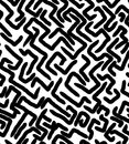 LABYRINTH MEMPHIS STYLE SEAMLESS PATTERN. GEOMETRIC ELEMENTS TEXTURE. 80S-90S DESIGN ON WHITE BACKGROUND.