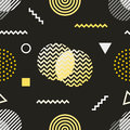 Memphis style seamless pattern. Black white yellow background 80s, 90s retro fashion design. Abstract doodle