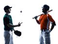 Men baseball players silhouette isolated Royalty Free Stock Photo