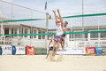 Men beach volleyball players italian national championship june location ostia near rome italy attack and defense Stock Images