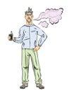 Men with beard vaping. Cloud of vapor. Vector illustration, isolated on white background.