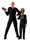 Men in black two one human with sunglasses and the other alien both wearing identical suits and neckties with white shirts Royalty Free Stock Photography