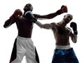 Men boxers boxing isolated silhouette two on white background Stock Photo