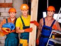 Men in builder uniform. Royalty Free Stock Photo