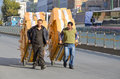 Men carring merchandise istanbul turkey september in the middle of the street of istanbul on september istanbul has several Royalty Free Stock Photos