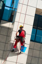 Man cleaning office building hanging on ropes Royalty Free Stock Photo