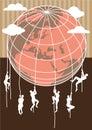 Men climbing earth globe