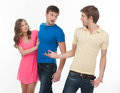 Men conflicting two angry about girl while standing isolated on white Royalty Free Stock Photos