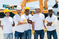 Men at a construction site group of working Royalty Free Stock Images