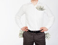 Men with dollars in pockets Royalty Free Stock Photo