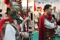 Men dressed roman costumes romanian tourism fair Stock Image