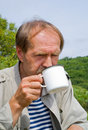 Men drinks tea 3 Stock Image
