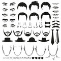 Men face parts. Eyes, noses, mustaches, glasses, hats, lips, hairstyle, ties and beards. Vector set Royalty Free Stock Photo