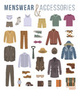 Men fashion clothes and accessories flat vector icons