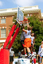 Men fight for ball above rim in street basketball tournament athens ga usa august three the the a on held on the streets of Stock Images