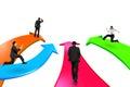 Men on four color arrows go forward