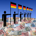 Men with German flags on euros Royalty Free Stock Photo