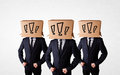 Men gesturing with exclamation marks on box on their head group of drawn Royalty Free Stock Image