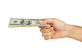 A Men hand holding hundred dollars bill on white background. Royalty Free Stock Photo