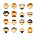 Men head avatar iconset with beards, mustaches, glasses and rosy cheeks Royalty Free Stock Photo
