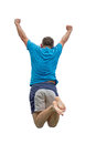 Men jumping on trampoline Stock Photo