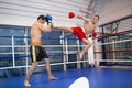 Men kickboxing. Royalty Free Stock Photo