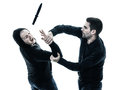 Men krav maga fighters fighting isolated two caucasian silhouette on white background Stock Image