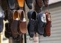 Men leather shoes in street market.