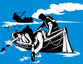 Men on lifeboat with sinking ship Royalty Free Stock Image