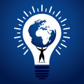 Men lift world globe in bulb