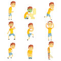 Men with pain and diseases set. Sick people colorful cartoon characters vector Illustrations
