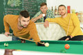 Men play billiard Royalty Free Stock Photo