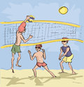 Men playing beach volleyball comic image of in bright colors Stock Photo