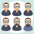 Men portraits. Vector isolated characters Royalty Free Stock Image
