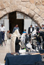 Men pray at the wailing wall jerusalem israel march western or kotel is located in old city of jerusalem Stock Image