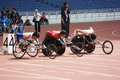 Men's 100 Meters Wheelchair Race Stock Photography