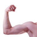 Men s biceps on a white background Stock Photography