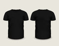 Men's black t-shirt short sleeve in front and back views. Vector template. Fully editable handmade mesh Royalty Free Stock Photo
