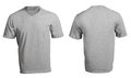 Men s blank grey v neck shirt template front and back design Stock Image