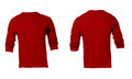 Men s blank red long sleeved shirt template front and back design Stock Image
