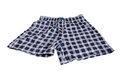 Men s briefs boxers from checkered fabric on a white background Stock Photography