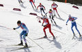 Men s cross country km mass start sochi russia february several sportsmen during competition at sochi xxii olympic winter games Stock Photo