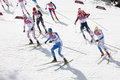 Men s cross country km mass start sochi russia february several sportsmen during competition at sochi xxii olympic winter games Royalty Free Stock Photography