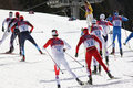 Men s cross country km mass start sochi russia february several sportsmen during competition at sochi xxii olympic winter games Royalty Free Stock Image