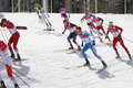 Men s cross country km mass start sochi russia february several sportsmen during competition at sochi xxii olympic winter games Royalty Free Stock Photos