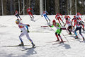 Men s cross country km mass start in sochi russia february several sportsmen during competition at xxii olympic winter games Stock Photography